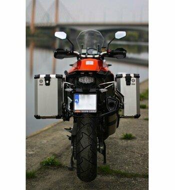 Sistema de maletas aluminio Holan Nomada Pro para KTM 1190 con escape Remus